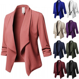 Womens pantaloncini ufficio online-Large Size Womens Slim Jackets Fashion Office Lady Solid Short Jackets for Spring and Autumn 10 Colors Lapel Neck Outerwear S - 5XL