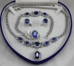 Colar de pulseira de safira azul on-line-18k gp branco ouro azul sapphire set brinco colar de pulseira