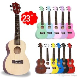 """Acoustic Electric Guitar Beginner Rose Wood Soprano Guitar Basswood Soprano Ukulele With 4 Strings Picks 12 Colors Available C-Type 23"""" от"""
