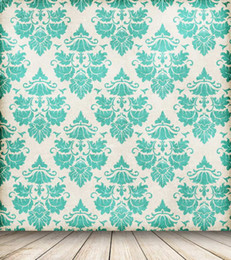 Wholesale Damask Photography Background - 5x7ft Vinyl Green Damask Tufted Pattern Wood Photography Studio Backdrop Background