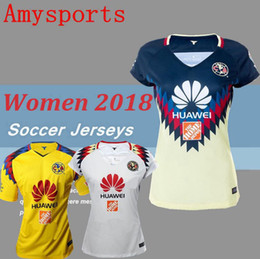 Wholesale Club Shirts Women - Women New Arrived Club America 2018 Soccer Jerseys Home Red Black away TOP QUALITY 17 18 R.SAMBUEZA P.AGUILAR O.Peralta girl Football Shirts