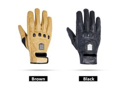 leather motorcycle gloves yellow Promo Codes - ROCK BIKER Unisex Airsoftsports Tactical Motorcycle Gloves Leather Men Full Finger Black Yellow Guantes Moto Motocross Glove