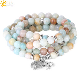 Wholesale amazonite jewelry - CSJA 108 Mala 8mm Matte Frosted Amazonite Bracelet OM Charms Prayer Rosary Bead Bracelets Tree of Life Pendant Reiki Meditation Jewelry F404