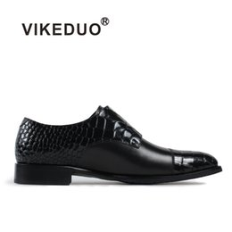 Крокодиловая обувь ручной работы онлайн-Vikeduo 2018 Handmade Hot Designer Crocodile Fashion Wedding Party  Casual Male Shoe Genuine Leather Mens Monk Dress Shoes