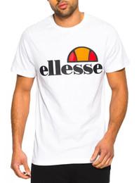 Wholesale T Shorts Logo - Ellesse Mens Classic Prado Print Logo T-Shirt Print Top Tee Optic White 100% Cotton Print Mens Summer O-Neck Animal