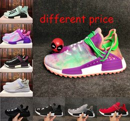 Wholesale Light Up Trainers - 2018 best quality HU Human Race trail Running Shoes Men Women Pharrell Williams Holi Blank Canvas Equality trainers sports sneakers