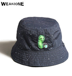 b0b4f6d3 bucket camping hats Coupons - 2017 Two Side Reversible Bucket Hat Unisex  Fashion Alien Caps Hip
