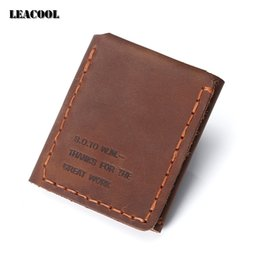 Wholesale Secret Cell - Leacool 2017 Original handmade Genuine Leather Vintage Wallet The Secret Life Of Walter Mitty Cowhide Leather Purse Wallet