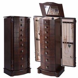 Деревянная шкатулка для драгоценностей онлайн-2016 дерево ювелирные изделия шкаф шкаф ящик для хранения груди стенд организатор ожерелье HB83505