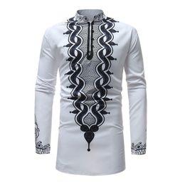 Макси платья платья фирменные онлайн-Mens African Dashiki Dress Shirt 2018  New Traditional Dashiki Maxi Man Shirt Men Slim Fit Long Sleeve Shirts Chemise Homme