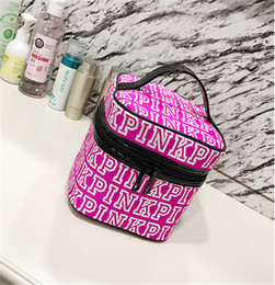 Wholesale Make Up Cases Bags - PINK Makeup Bag Love Pink Cosmetic Bags Double Zipper Handbag Portable Storage Bag VS kylie brushes eye shadow Make up washing Bags best