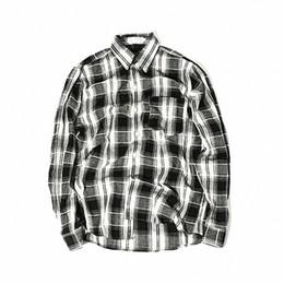 Chemise homme noire à manches longues en Ligne-Mode noir blanc chemise à carreaux hommes chemise à manches longues hommes unisexe vintage marque chemises habillées
