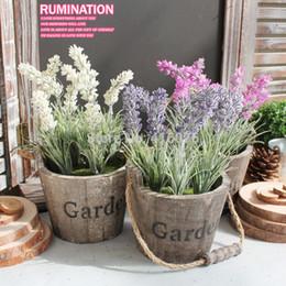 Vasi da giardino in legno online-Vaso rotondo in legno da tavolo 2 pezzi / lotto con fiori di lavanda appeso a parete vaso di legno con decoro giardino di fiori
