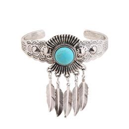 Wholesale United Angels - Europe and the United States new retro turquoise opening bracelet leaves feather bracelet popular jewelry jewelry wholesale