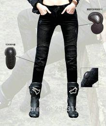 Pantalones gratis online-Envío gratis motocicleta featherbad-negro protction pantalones feoBROS pantalones vaqueros ocasionales femeninos moto caballero slim riding pantalones
