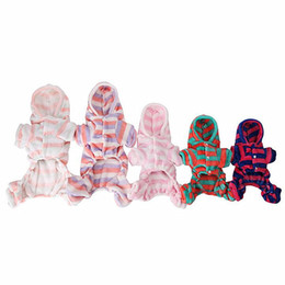 Wholesale Coral Wedding Hats - Puppy clothing 5-color pet four-legged clothes dog winter casual thickened stripes home service coral velvet Teddy Small Dog