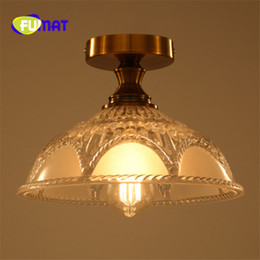 Wholesale Lotus Ceiling Lamp - FUMAT American Country Classical Creative Glass Ceiling Lamp Aisle Hall Lamp Lotus Leaf Flower Shape Lighting Free Shipping
