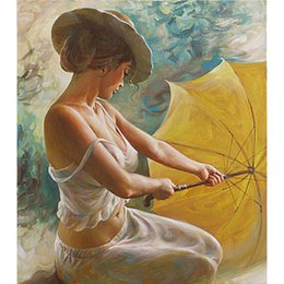 Wholesale Traditional Sexy Painting - Frameless DIY Oil Painting By Numbers Hand Painted Modern Wall Canvas Painting Picture For Living Room(A sexy woman)