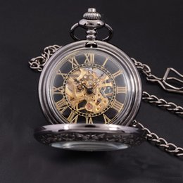 Wholesale Steampunk Mechanical Skeleton Watches - Wholesale-Steampunk Luxury Fashion Antique Skeleton Mechanical Pocket Watch Men Chain Necklace Business Casual Pocket & Fob Watches Gold