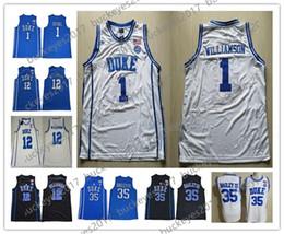 1166c8c57 New Duke  1 Zion Williamson White Round Collar Stitched 2018 2017 Blue  Devils  12 Williamson Royal Black NCAA College Basketball Jerseys