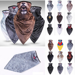 Wholesale color face towels - 18 Colors Animal Half Face Mask Lengthening triangular towel Head Cover Mask Sunscreen Outdoors Neck Sleeve Magic Scarves AAA421