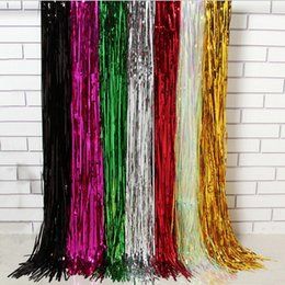 Wholesale Rain Chocolate - 10*100cm Tinsel Fringe Glitter Curtain Door Rain Home Room Wedding Party Decor Stage Backdrop Background Photo Props Supplies