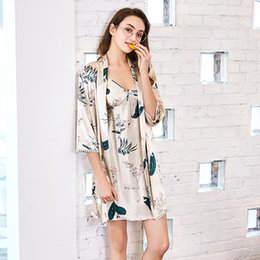 2 Pieces New Robe   Gown Sets Silk Sleepwear or Homewear for Women Casual  Sexy Mini Soft Skin Robe Big Size Girls Lady 2018 1031abcfe