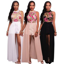 1a3f16aeafd summer beach wear dresses plus size Coupons - Lace Maxi Dresses Sleeveless  Rose Embroidery Split High