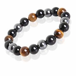Wholesale 14k box chain - Tiger Eye & Hematite & Black Obsidian Stone Bead Bracelet Vintage Charm Round Chain Beads Bracelets Jewelry For Women
