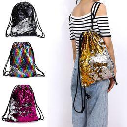Wholesale drawstring bags backpack black - 4 Colors Magic Reversible Sequin Drawstring Bag Mermaid Glittering Outdoor Travel Shoulder Bag Fashion Drawstring Design Backpack AAA674