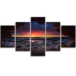 Wholesale Sunrise Painted Walls - MingTing - 5 Panel Canvas Wall Sunrise On Cave Landspace Poster Painting Modern Home Decor For Living Room Aisle No Frame