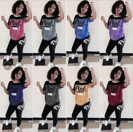Wholesale American Length - 8 Colors Pink Letter Clothing Set Short Sleeve T-shirt Leggings Pants Tracksuit Women Clothing Sportswear Sportsuit CCA9439 10set