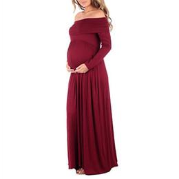 Canada Robes de maternité maxi 2018 Photographie de maternité Props en mousseline de soie Vestidos épaules épaules Maxi robe de grossesse Grossesse Séance photo Offre