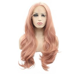 Wholesale Orange Front Lace Synthetic Wig - Fantasy Beauty Fashion Orange Pink Lace Wig Mixed Color Glueless Long Natural Wavy Middle Part Synthetic Lace Front Wigs For Women Half Hand