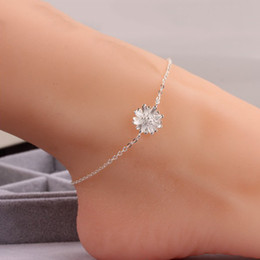 Wholesale round flowers - Luxury 925 Silver Chain Anklet Daisy Flower Ankle Bracelets 25.5cm Chain Foot Jewelry for Women