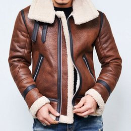 Wholesale Wool Lined Leather Jacket - Wholesale- Winter Men's Fleece Lining Coat Suede Leather loose Jacket Thick Warm Outwear zipper Jacket motorcycle fur coat oversized coat