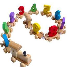 kits de trenes de juguete Rebajas 1set Número de Niños Juguete Educativo Kawaii Intelectual Juguete de Madera Mini Tren Modelo Kits de Construcción de Iluminación Regalo para los niños