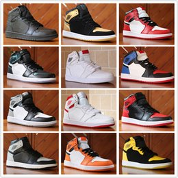 Wholesale High Top Black Canvas Shoes - 2018 New Top 1 OG High Banned black Red White Men Basketball Shoes Women Sports Shoe Athletic Trainers Mens Sneakers US 5-13