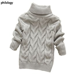 Wholesale Turtleneck Collar Kids - PHILOLOGY 2T-8T pure color winter boy girl kid thick Knitted bottoming turtleneck shirts solid high collar pullover sweater