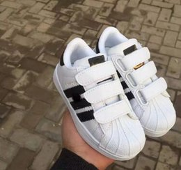 Wholesale Boys Striped - high quality designer sport shoes kids sneakers boys girls Casual shoes STAN SMITH SNEAKERS Children CASUAL running shoes SUPERSTAR 25-35