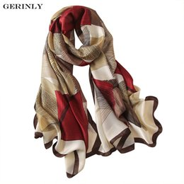 Wholesale Long Spring Scarf For Women - GERINLY Women Silk Scarf Geometric Print Scarves Elegant Long Shawls Foulard for Female Luxury Spring Summer Banada 180x90cm