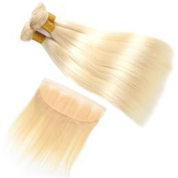 2019 cabelo humano da onda profunda francesa Feixes de Cabelo Humano Em Linha Reta Virgem brasileira Com Frontal Não Transformados 613 Loira Feixes Com Lace Frontal Remy Tecer Cabelo Humano