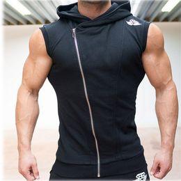 Wholesale Men Sleeveless Hoodies - Men Gym Tank Top Bodybuilding Stringer Hoodies Sleeveless Singlets Shark Skull Shirt Clothing Academia Sexy jersey Bodybuilding