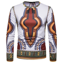 camiseta tribal Desconto Camiseta Dashiki Africano 3D Homens 2018 New Tribal Ethnic Camiseta Homme Slim Fit manga comprida T-shirt Masculino Camisetas Hombre