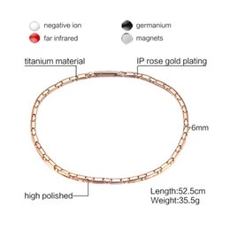 Wholesale pure gold necklace chain - Vinterly Pure Titanium Necklace Chain Link Rose Gold-color Health Energy Magnetic Germanium Necklaces for Women Jewelry