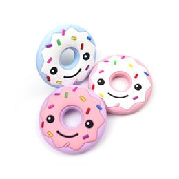 Branello del neonato online-Silicone Baby gomma molari perline di legno masticabili bambini placare donut ragazzo ragazza giocattoli denti molari strumenti 7 5 gg gg