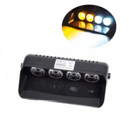Wholesale blue dashboard lights - HEHEMM 4 LED Car Warning Lights Emergency Strobe Flash Lamp Dashboard Windshield Light with Sucker Amber White Red Blue
