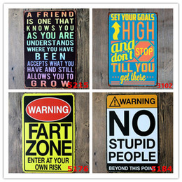 stagno stampato all'ingrosso Sconti Nuovo 20pcs Poesia Divertente Family Life Kitchen Rule Citazione Metal Painting Store Vintage Poster Wall art Decor