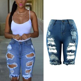 Wholesale White High Waist Jeans - Summer 2017 High Waist Shorts Women Denim Shorts Streetwear Ripped Jeans Short Hole Worn Vintage Women Plus size jeans