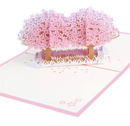 Biglietti da visita fiore fatti a mano online-10pcs Handmade 3D Tree Flower Wedding Card Invitation Card 3D Doppio Fiore Albero Laser Cut regalo per San Valentino